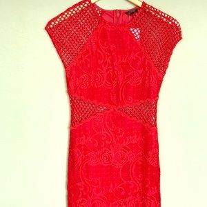 TOPSHOP - Red, Lace mini dress, NWT
